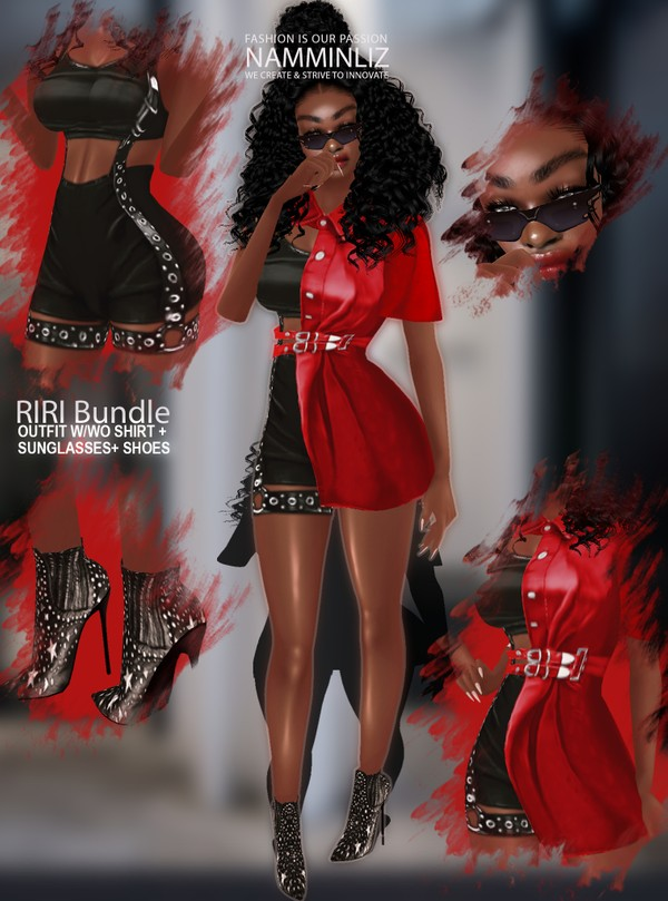 RiRi Bundle Outfit w/wo Shirt + Sumglasses+ Shoes  Textures PNG 4 CHKN