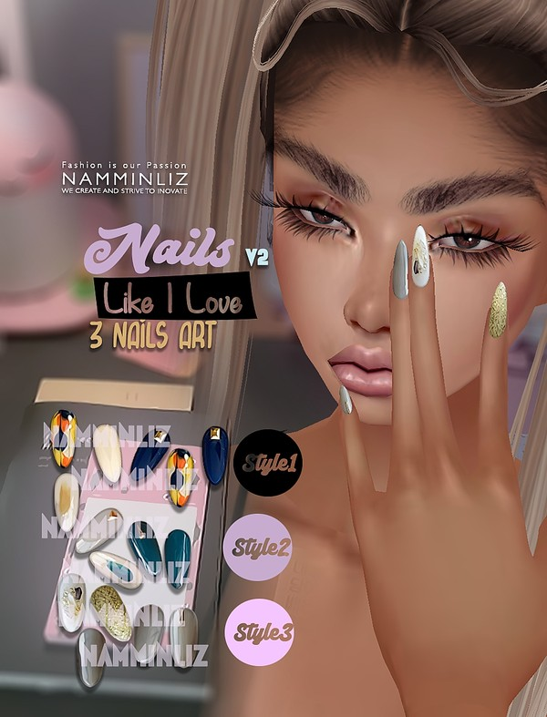 Nails Like I Love V2 3Nails Art Textures PNG CHKN
