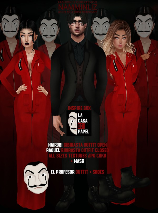 Inspire LACASADEPAPEL Box Textures JPG 5 CHKN (Outfit close & Open+ Outfit_Shoes+Mask)
