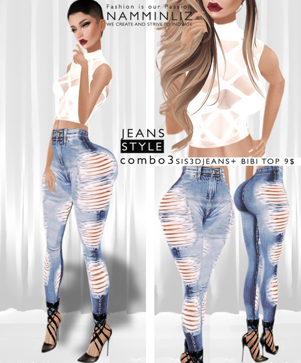 JEANS STYLE Combo3  •Sis3d Jeans + Bibi Top