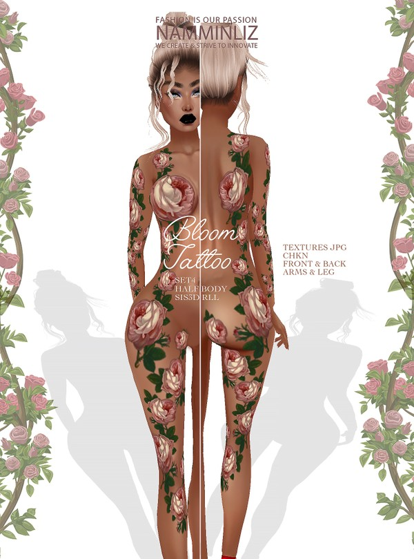 Bloom Tattoo SET4 Texture JPG CHKN sis3d RLL layer Half Body Back/Front