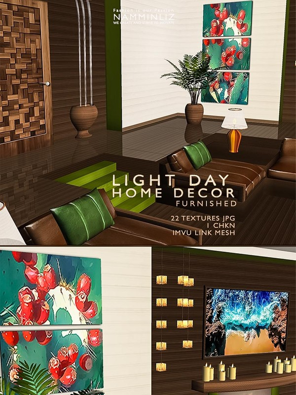 LIGHT DAY Home decor Furnished 22 Textures JPG 1 CHKN imvu link to the mesh