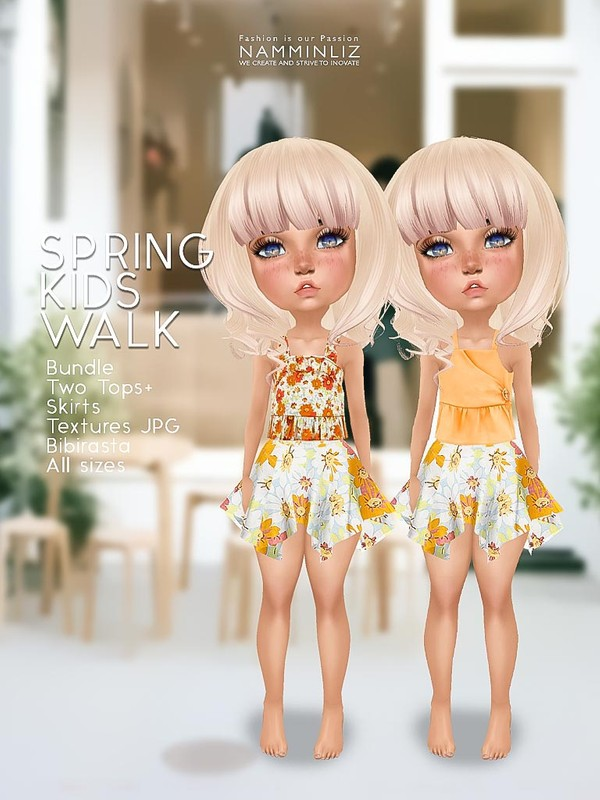 Spring kids walk V2 Bundle Two Tops+ Skirts  Textures JPG Bibirasta  All sizes