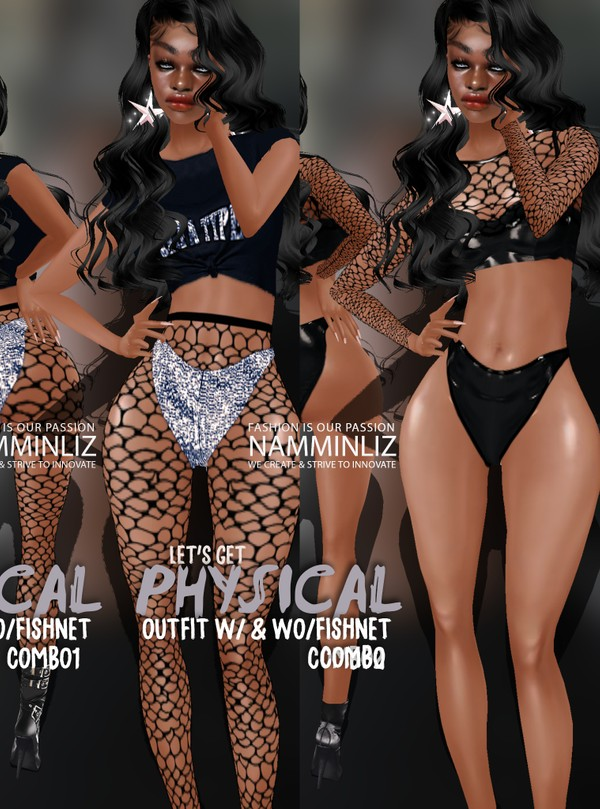 Let's get Physical Combo Outfit w/ & wo/ Fishnet Sis3d Textures PNG CHKN