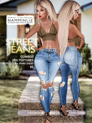 Street Jeans full combo3 Textures JPG Outfits ( Top + Jeans ) Sis3d