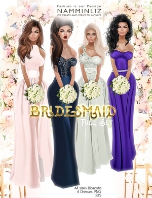 Bridesmaid Full set imvu Bibirasta dress all sizes PNG