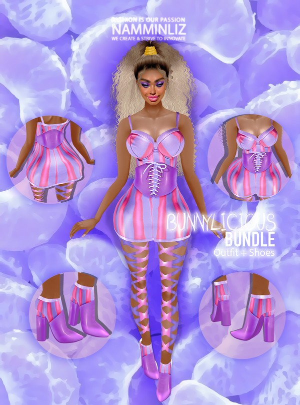 Bunnylicious Bundle Outfit & Shoes RLL Textures JPG 2 CHKN Limited to 4 clients only