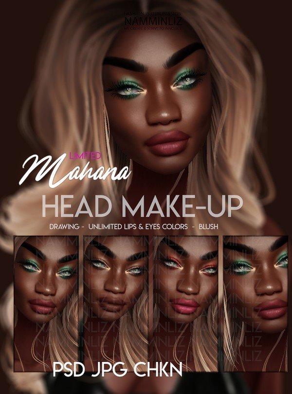Mahana Head Make-up PSD JPG 3CHKN Drawing - Unlimited Lips & Eyes Colors Limited to 2 clients
