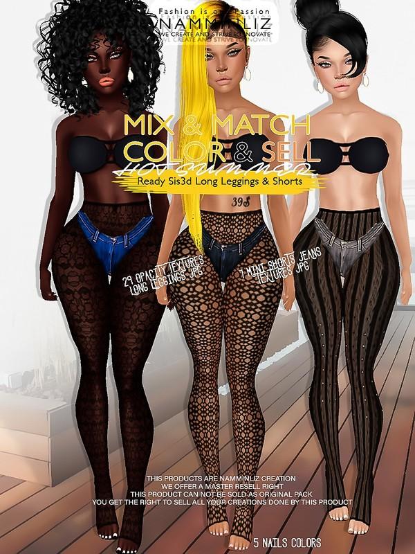 Hot Summer Mix & Match Color & Sell (Ready 7 Sis3d Mini Shorts & 29 Long Leggings JPG & PSD )