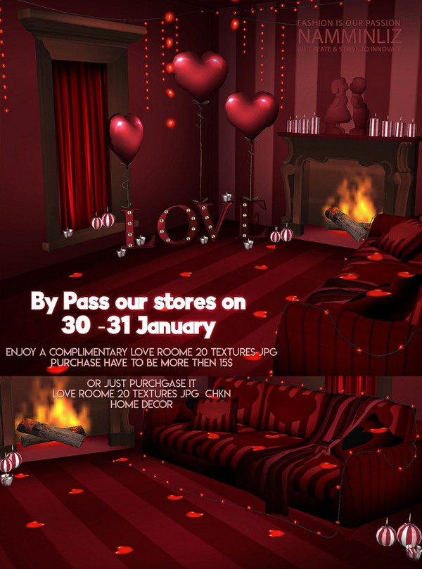 ByPass our stores on 30 to 31 January to get a complimentary Love room 20 textures