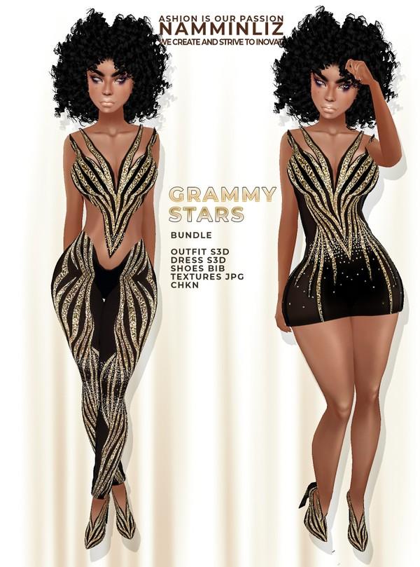 Grammy Stars Bundle JPG TexturesOutfit S3D + Dress S3D + Shoes BIBI CHKN