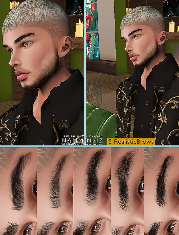 5 Men Realistic Brows PNG Opacities