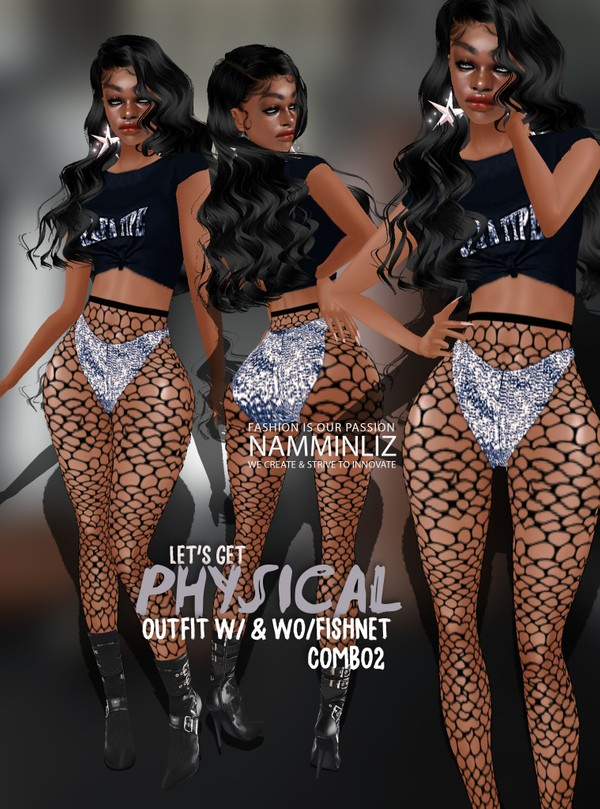 Let's get Physical Combo2 Outfit w/ & wo/ Fishnet Sis3d Textures PNG CHKN
