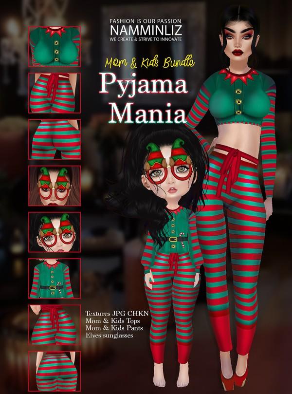 Pyjama Mania Mom & Kids Bundle Textures JPG CHKN  (2 Top Bibirasta, 2 Pants Sis3d )