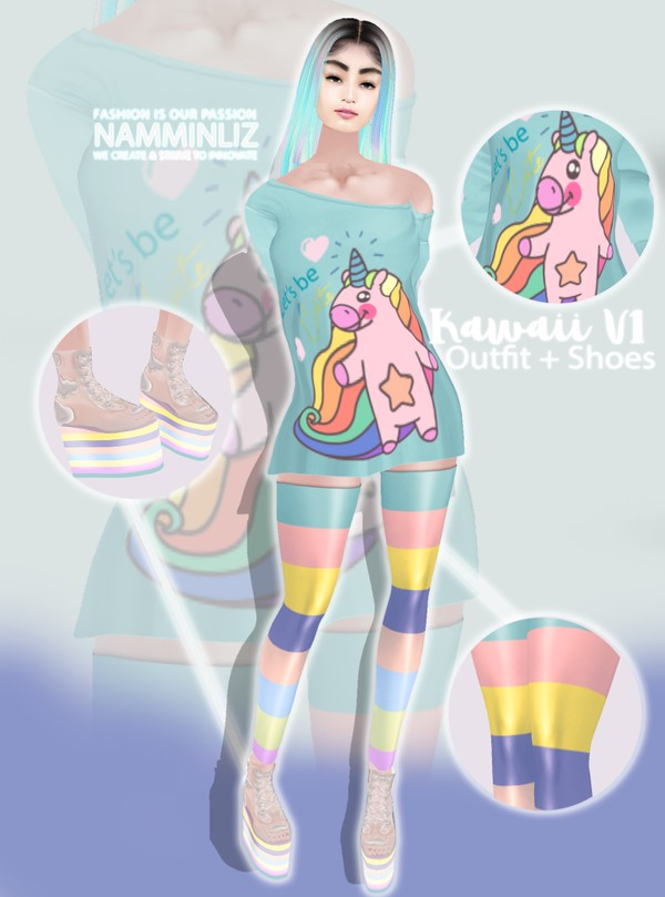 Kawaii Bundle V2 Outfit + Shoes  Textures PNG  CHKN ^  .  ^