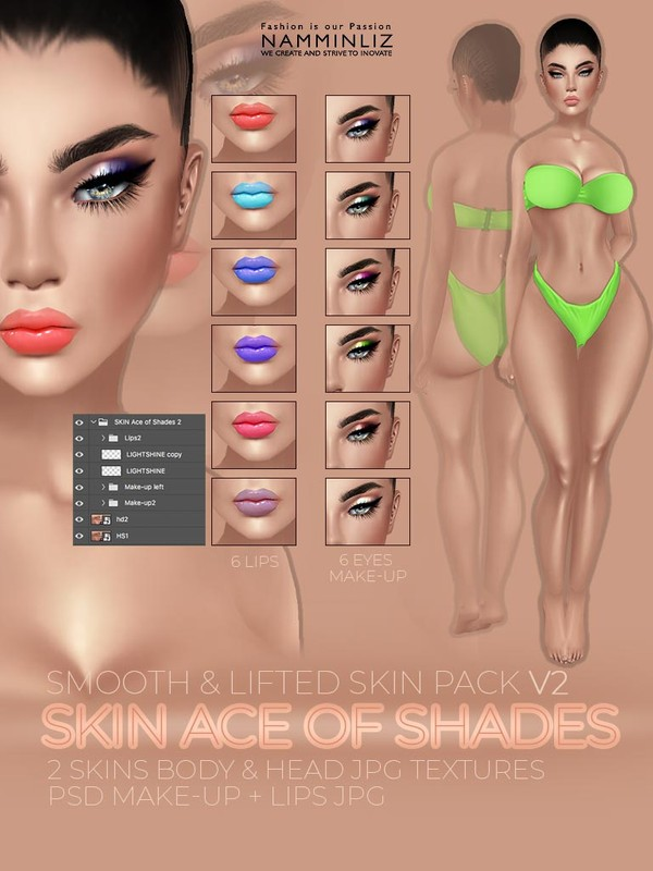 SKIN Ace of Shades V2 - PSD 6 Make-up & 6 Lips JPG Textures 2 Skins