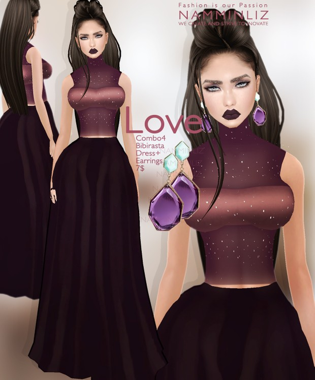 Love Full combo 4 Bibirasta imvu dresses + 4 Earrings