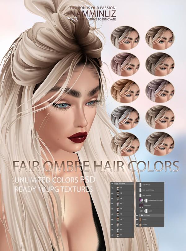 Fair Ombre Hair Colors 10 Textures JPG Unlimited colors PSD