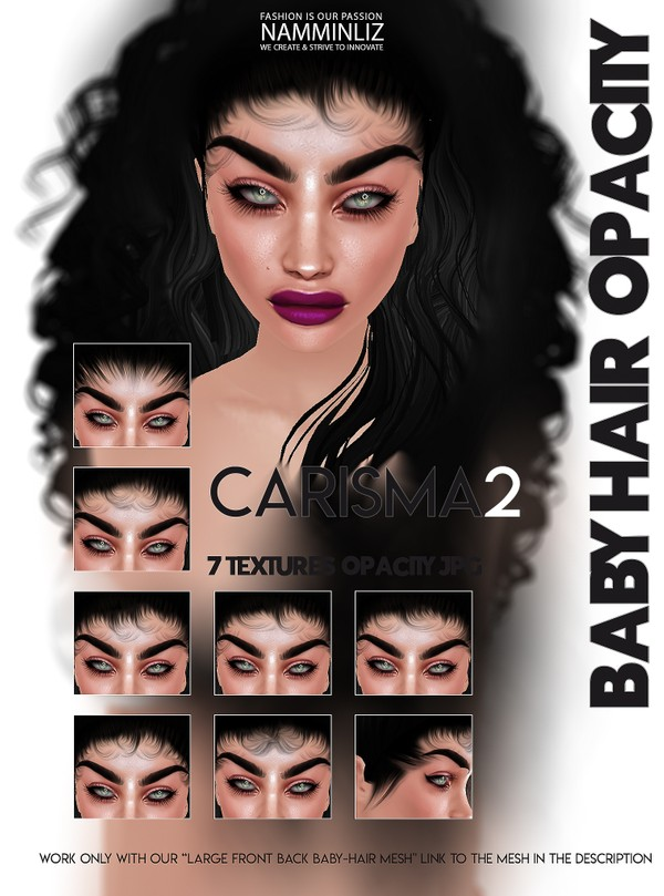 CARISMA2- 7 Baby hair Textures Opacity JPG (work with our Large Baby hair Mesh Link below)