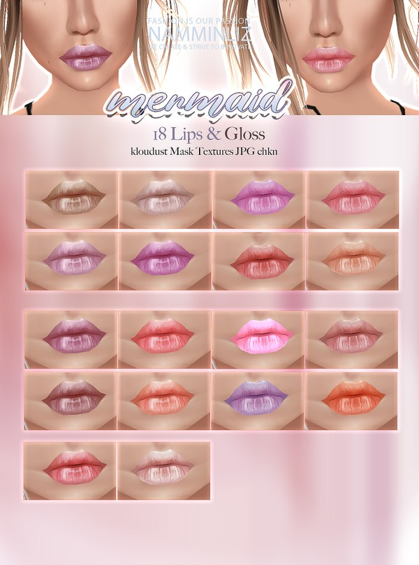 Mermaid 18 Lips & Gloss Textures JPG CHKN