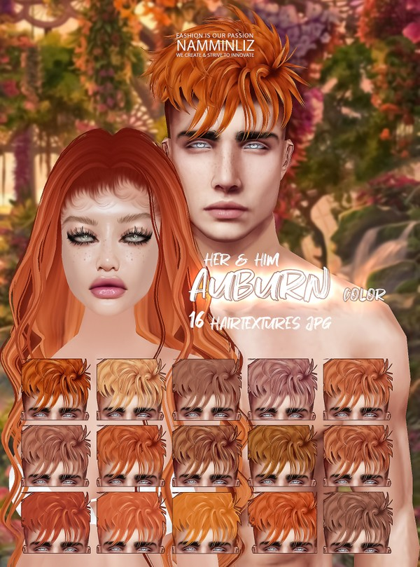 Auburn Colors 16 Hair textures JPG + Baby hair Texture with Fade in Effect  for Her & Him