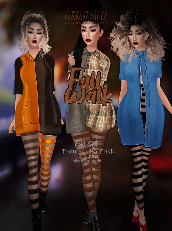 Fall Walk Full SET Texture JPG CHKN 3 Outfit Bibirasta
