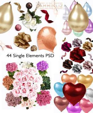 Add on items 44 Single elements 600x600 PSD