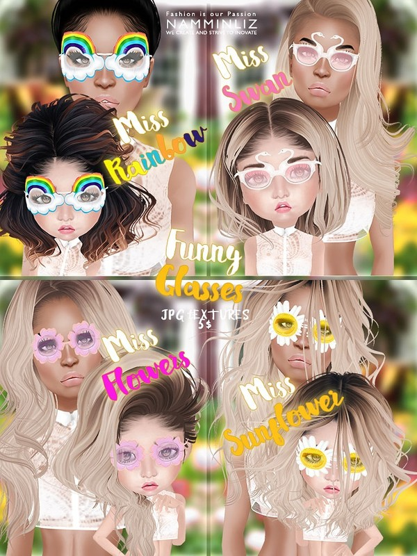 Funny Sunglasses ( Miss Swan, Miss Rainbow, Miss Flowers, Miss Sunflowers ) 4 JPG Textures NAMMINLIZ