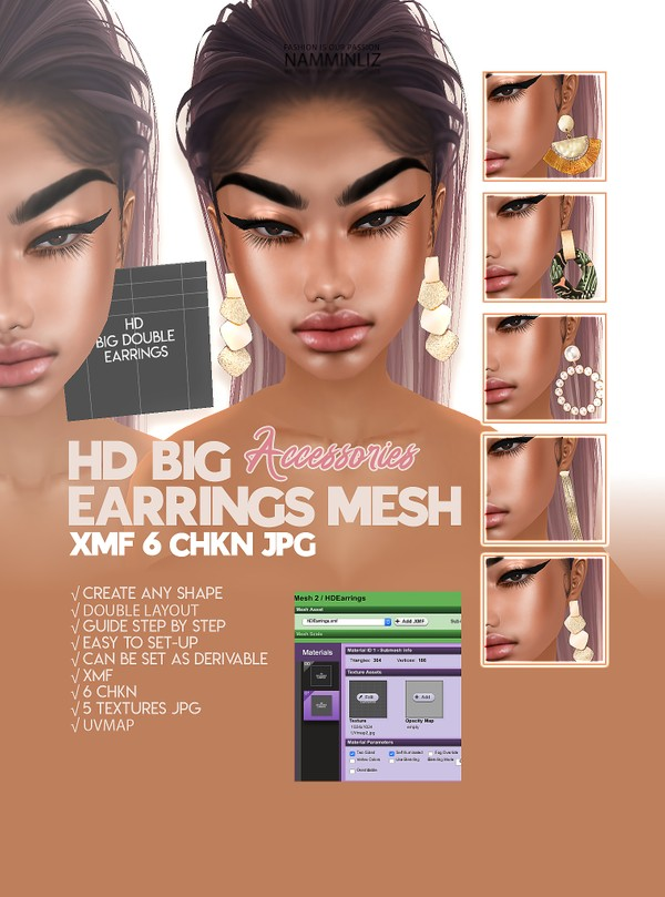 HD BIG EARRINGS Mesh Accessories XMF 6 CHKN & 6 Textures JPG