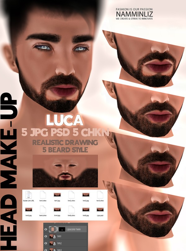 LUCA Head Make-up realistic drawing 5JPG PSD 5 CHKN Unlimited Lips color Limited 2 clients only