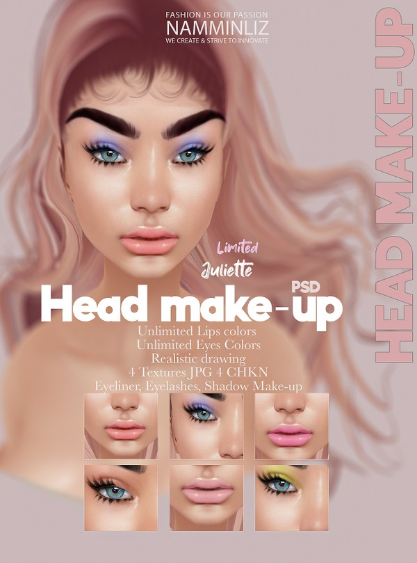 Juliette Head Makeup Unlimited Lips & Makeup colors PSD 4 CHKN, Eyeliner, Eyelashes Limited 2
