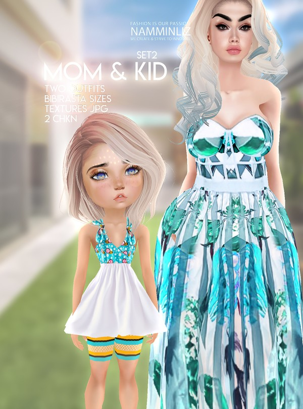 Mom & Kid Set2 Two Outfit Textures JPG 2 CHKN