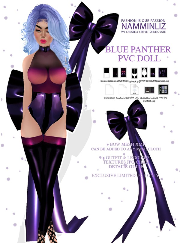 Blue Panther PVC Doll ( Bow Mesh XMF, Outfit JPG CHKN) Exclusive Limited to 3 Only