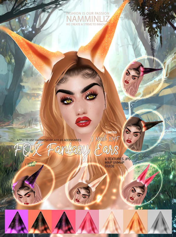 "Fox Fantasy Ears Mesh 5 XMF 6 Textures JPG UVMAP Guide Step by Step"" Limited to 3 Clients only"