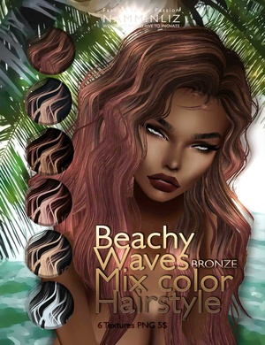 Beachy waves mixc color hairstyle •BRONZE 6 imvu hair texture PNG