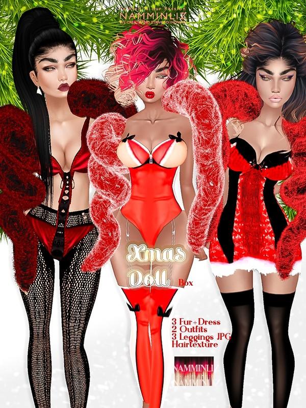 Xmas Doll ( 3 Fur+Dress 2 Outfits   3 Leggings JPG Hair textures )