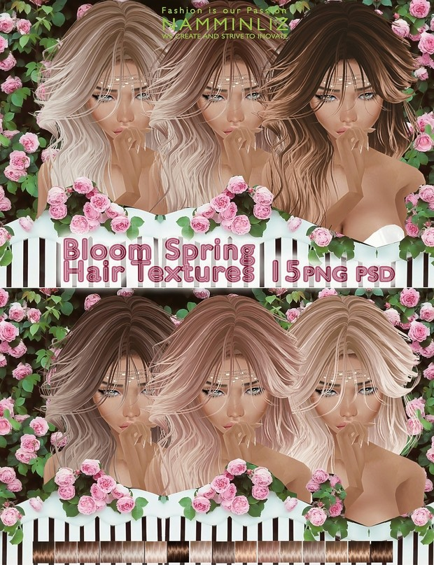 Bloom Spring hair textures 15 PNG PSD