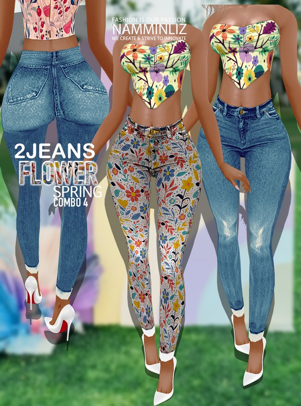 Flower Spring Combo4 2 Jeans All sizes Textures PNG, CHKN ^  -  ^