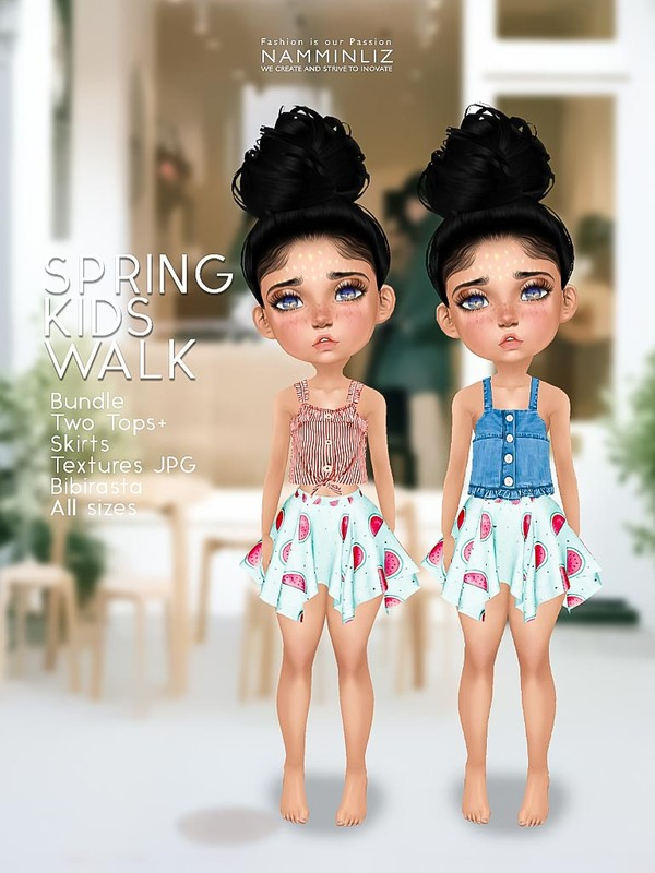 Spring kids walk V1 Bundle Two Tops+ Skirts  Textures JPG Bibirasta  All sizes