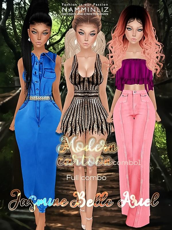 Modern Cartoon Full combo Ariel,Belle,Jasmine JPG textures TXM