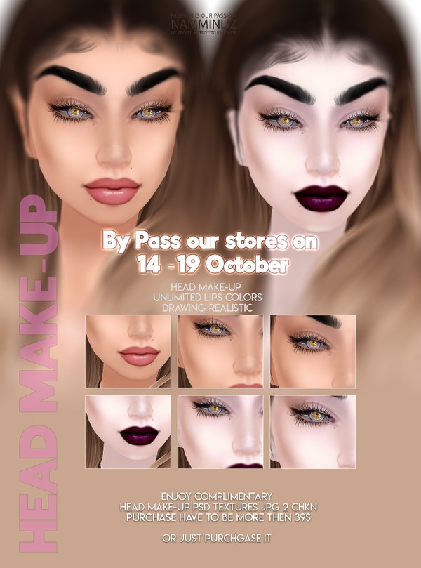 By Pass our stores on 14 - 19 October to get a complimentary Head Make-up PSD Textures JPG 2 CHKN