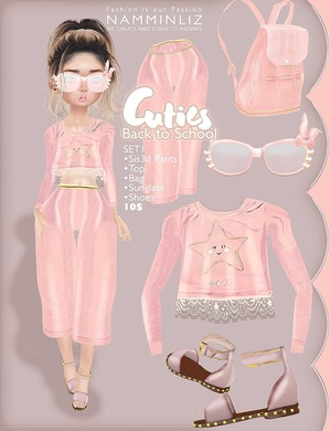 Cuties Back to School SET 1 ( Top + Pants + Shoes + Accesories + Bag)
