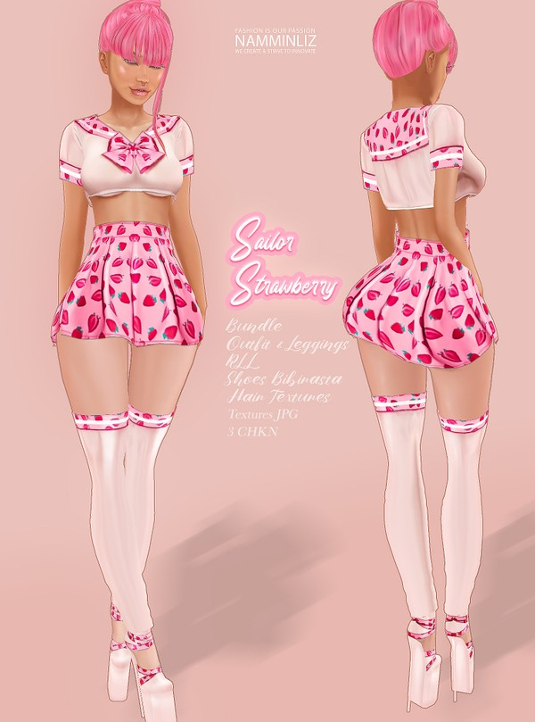 Sailor Strawberry Bundle Outfit & Leggings, Shoes , Hair Textures Textures JPG 3 CHKN