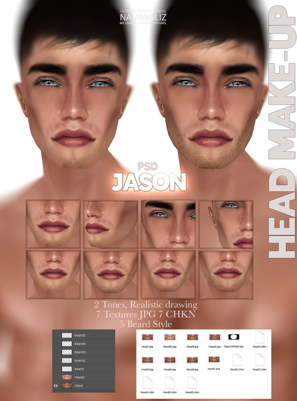 Jason Head-Make-up 2 Tones, Realistic drawing, 7 Textures JPG, 7CHKN & 5 Beard Style PSD Limited 2