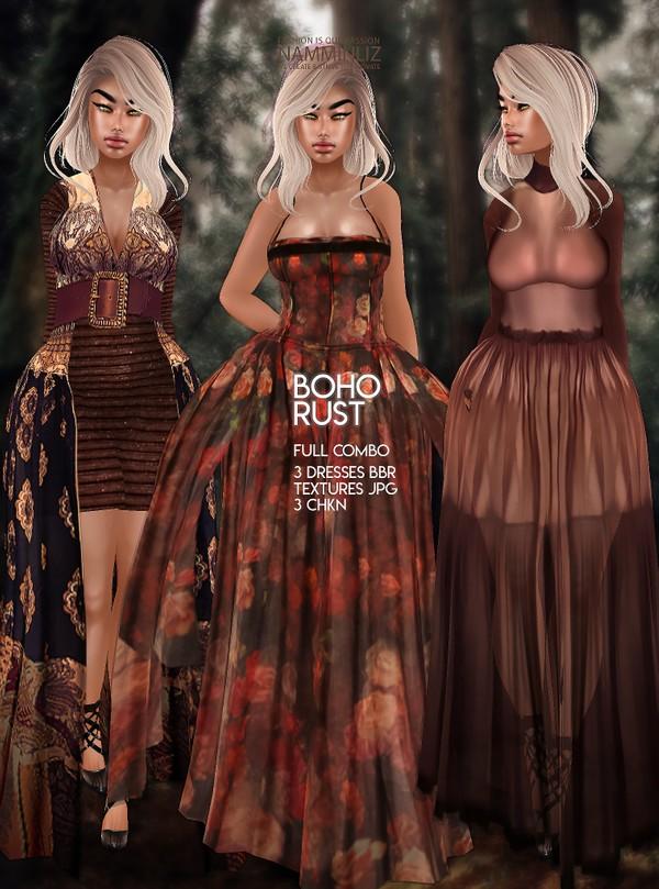 Boho Rust Full Combo 3 Dresses BBR Textures JPG 3 CHKN