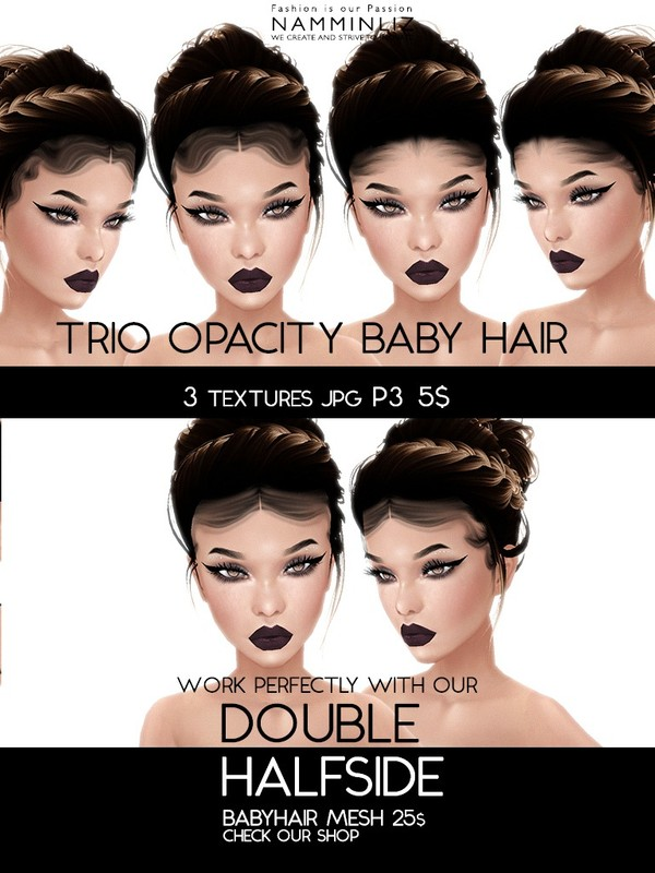 Double Half Side 3 Baby Hair Opacity Textures JPG 2018 P3 (Work only with our Double Mesh link below