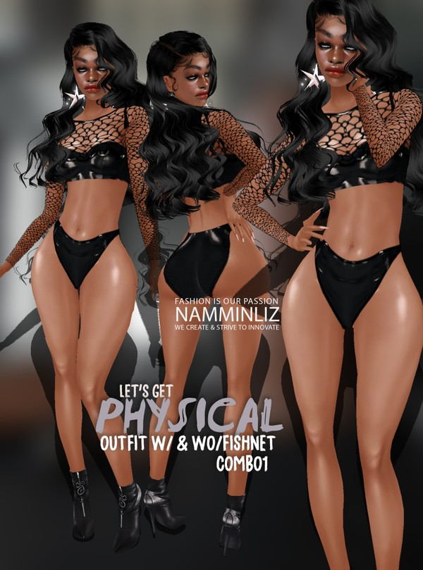 Let's get Physical Combo1 Outfit w/ & wo/ Fishnet Sis3d Textures PNG CHKN