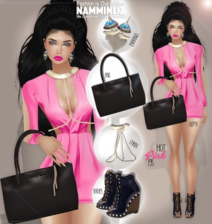 Special Hot pink Bibirasta Outfit + Bag +Earrings + Chain + Shoes