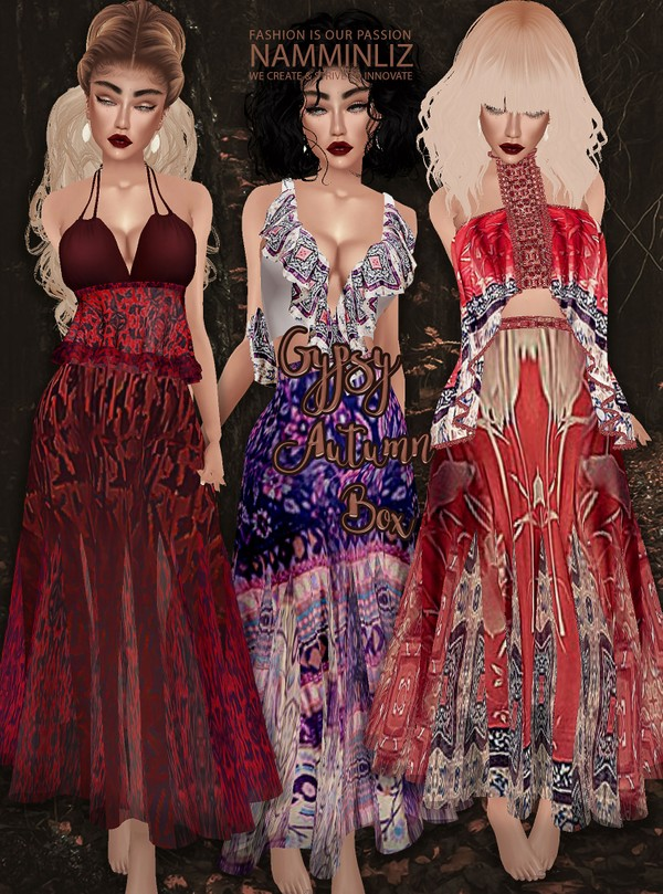 Gypsy Autumn Box Textures JPG 3 Tops + 3 Skirts 7 CHKN & Shawl