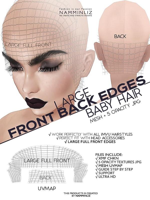 Large Front Back Edges Mesh Ultra HD XMF CHKN 5 Opacity textures JPG & 1 Hair Textures JPG Babyhair